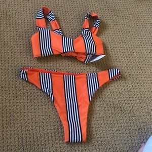 orange w/ black stripes zaful bikini